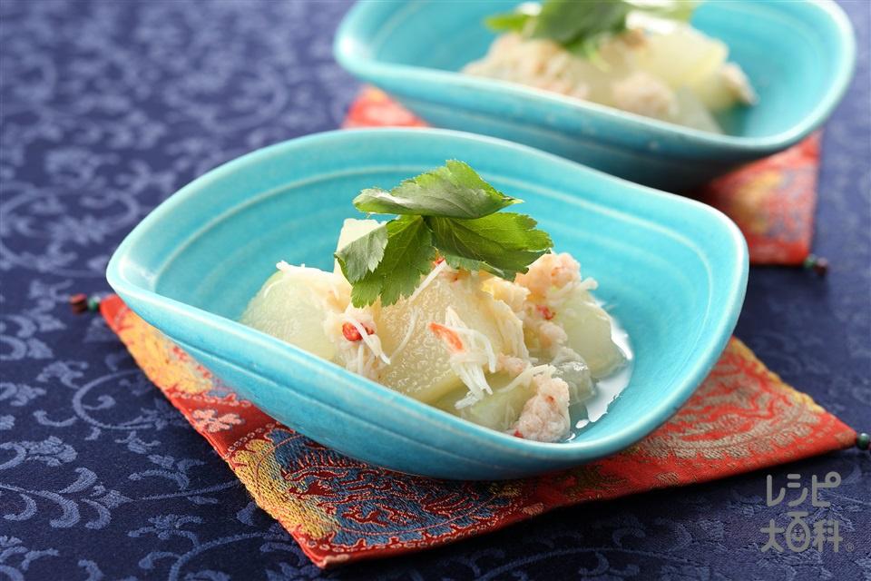とうがんの海鮮あんかけ(とうがん+帆立貝柱の水煮缶を使ったレシピ)
