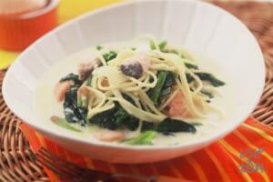 ほうれん草とサーモンのクリームパスタ(ほうれん草+スパゲッティを使ったレシピ)