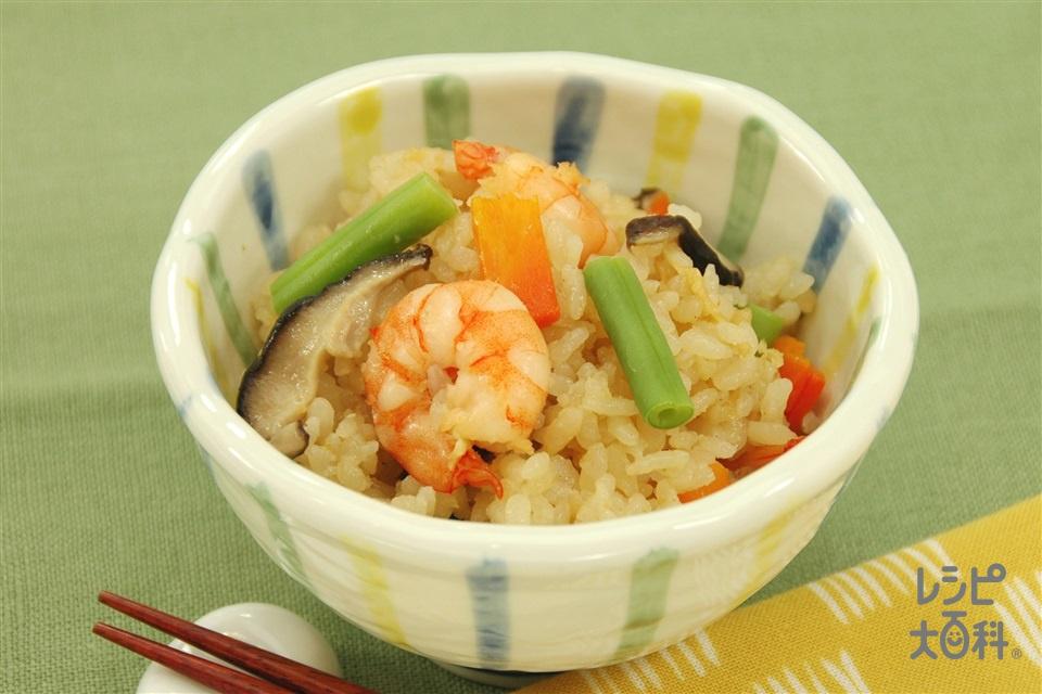 えび入りみそ五目ご飯(米+むきえびを使ったレシピ)