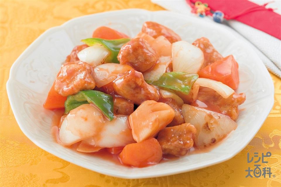 たけのこの酢豚(豚ももかたまり肉+玉ねぎを使ったレシピ)