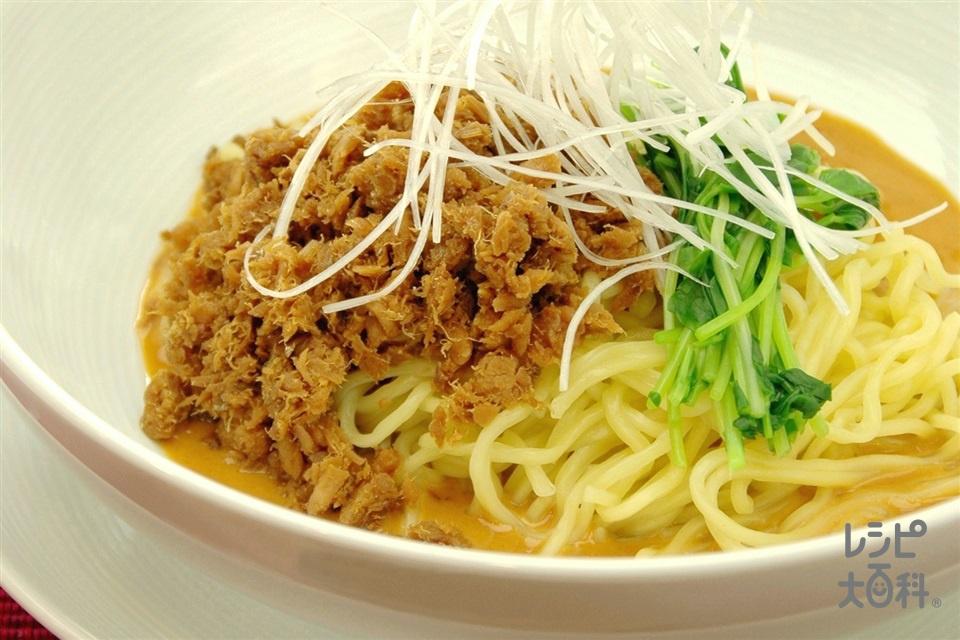 あじの汁なし担々麺(中華蒸しめん+あじを使ったレシピ)