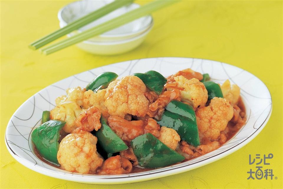 ピーマンとカリフラワーのチンジャオ炒め(豚バラ薄切り肉+カリフラワーを使ったレシピ)