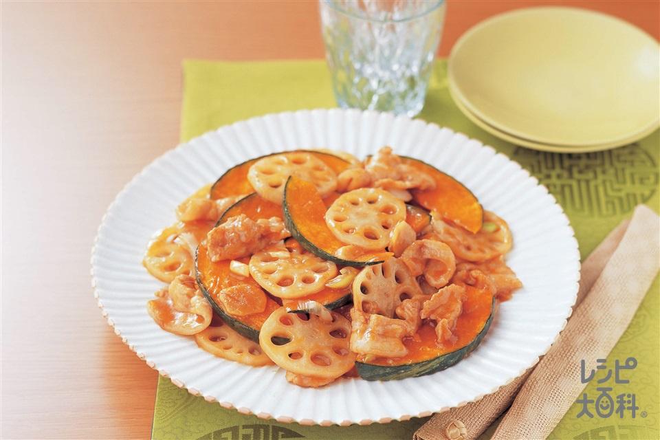 かぼちゃとれんこんのオイスター炒め(豚バラ薄切り肉+れんこんを使ったレシピ)