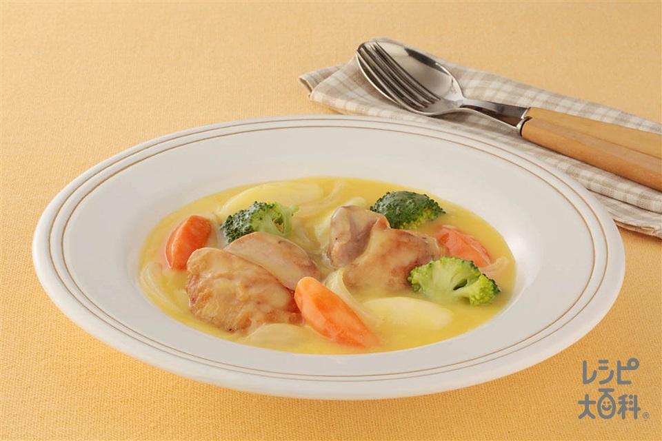 チキンのコーンクリーム煮(鶏もも肉(皮なし)+A「瀬戸のほんじお」を使ったレシピ)