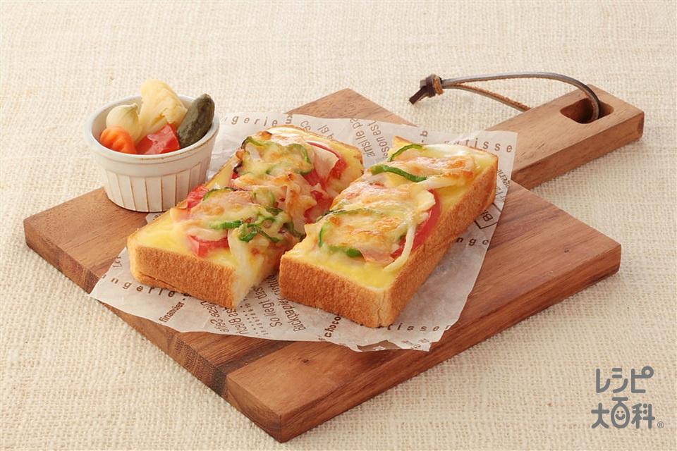 コーンピザトースト(食パン6枚切り+ロースハムを使ったレシピ)