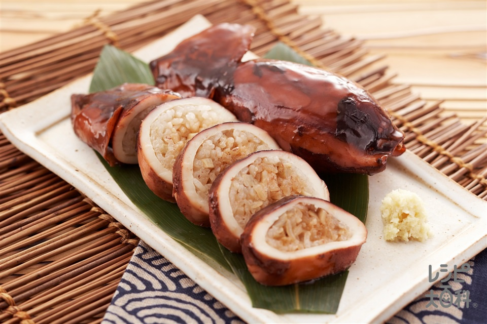 いか飯(するめいか+もち米を使ったレシピ)