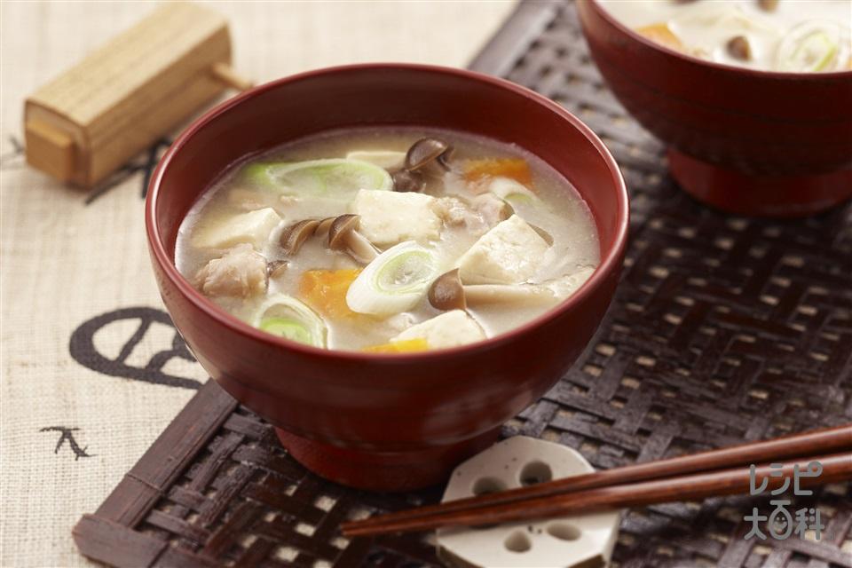 蓮根すり流し五目汁(れんこん+鶏もも肉を使ったレシピ)