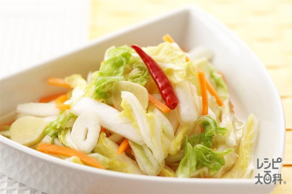 白菜のにんにくしょうが風味漬け(白菜+にんじんを使ったレシピ)