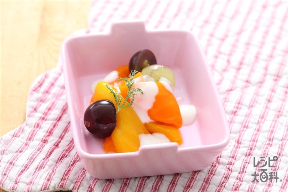 カラーピーマンのスイートサラダ(パプリカ(オレンジ)+パプリカ(黄)を使ったレシピ)