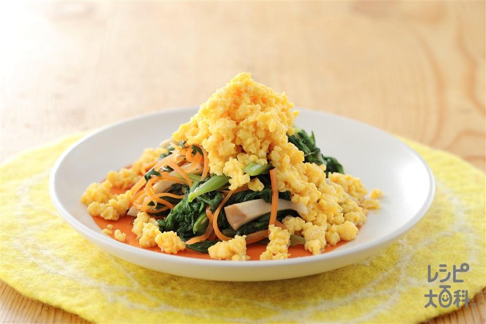 春菊といり卵のサラダ風(春菊+卵を使ったレシピ)