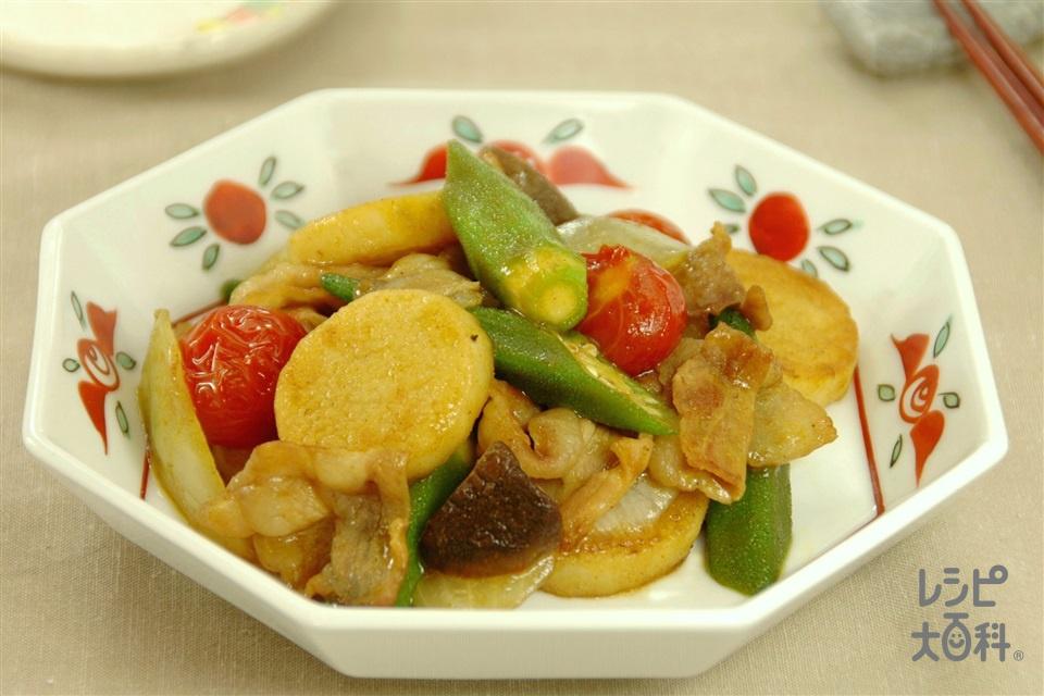 オクラと長いものカレーオイスター炒め(豚バラ薄切り肉+長いもを使ったレシピ)