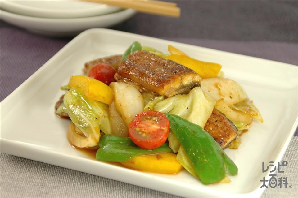 うなぎとトマトの中華風ピリ辛みそ炒め(うなぎのかば焼き+キャベツを使ったレシピ)