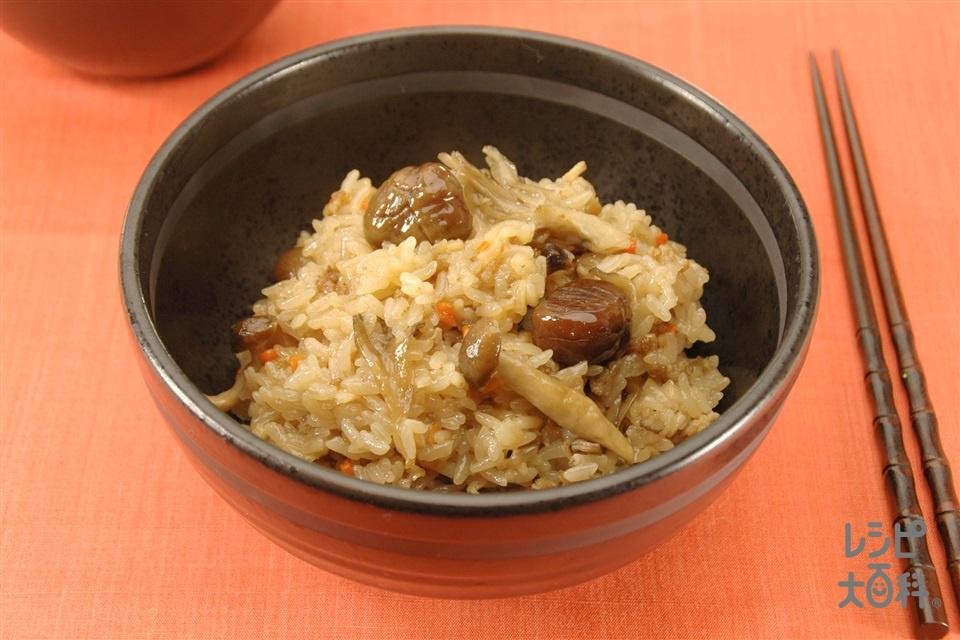 きのこと栗の中華風おこわ(もち米+豚ひき肉を使ったレシピ)