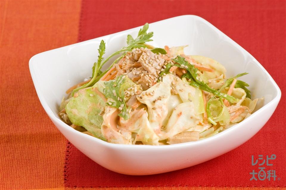 キャベツとツナのマヨバンジャンサラダ(キャベツ+春菊を使ったレシピ)