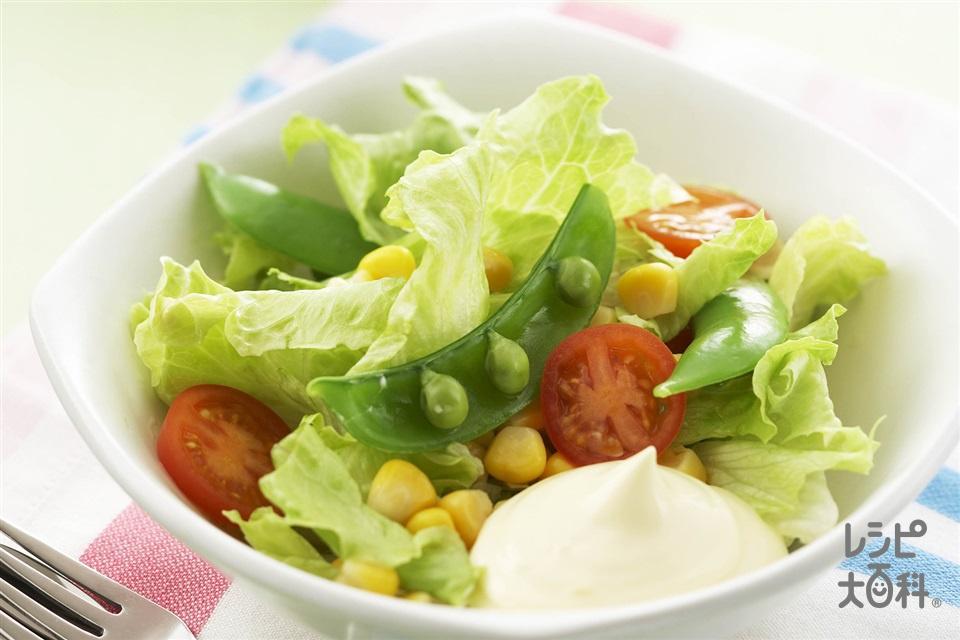 スナップエンドウとコーンのコクうまサラダ(ミニトマト+レタスを使ったレシピ)
