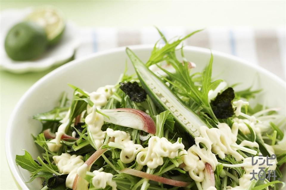 オクラとみょうがののりサラダ(オクラ+水菜を使ったレシピ)