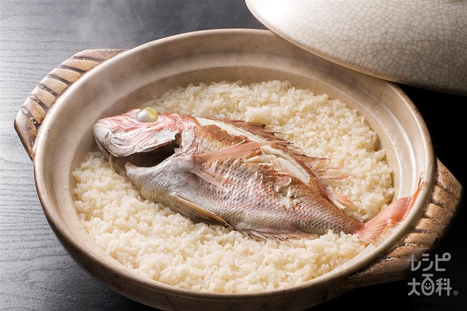 土鍋で作る 今治鯛めし(米+たいを使ったレシピ)