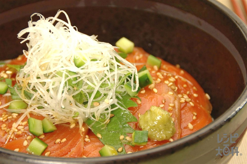 さけの漬け丼(ご飯+サーモン(刺身)を使ったレシピ)