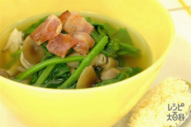 ほうれん草とカリカリベーコンのスープ