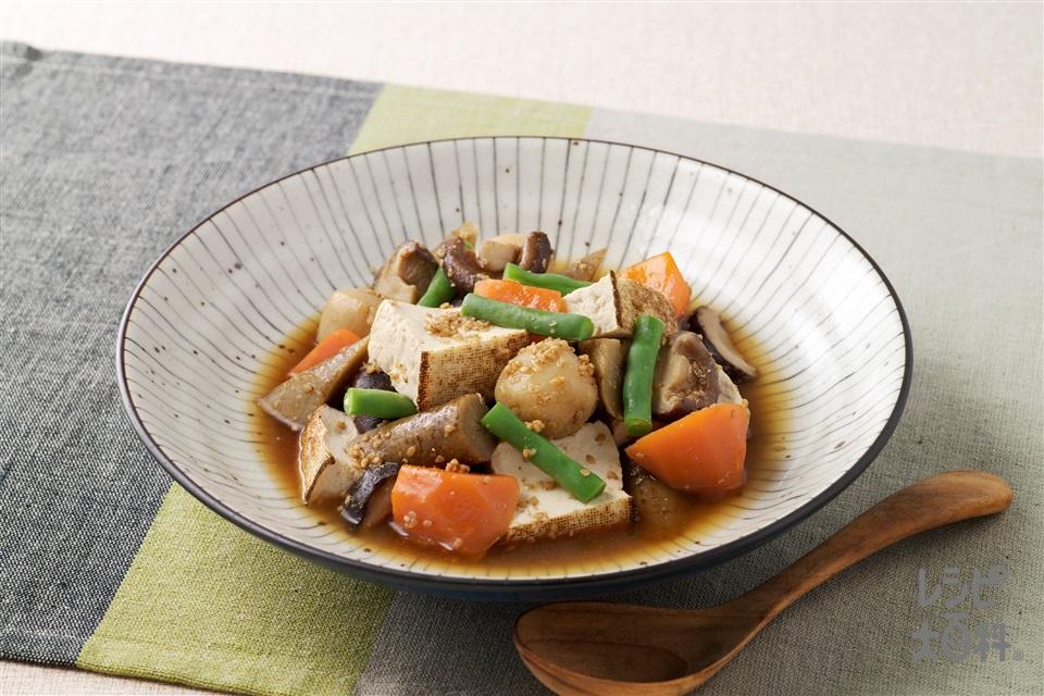 焼き豆腐と野菜のごま煮