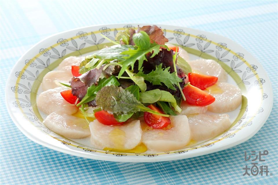 帆立のカルパッチョ(帆立貝柱(刺身)+ミニトマトを使ったレシピ)