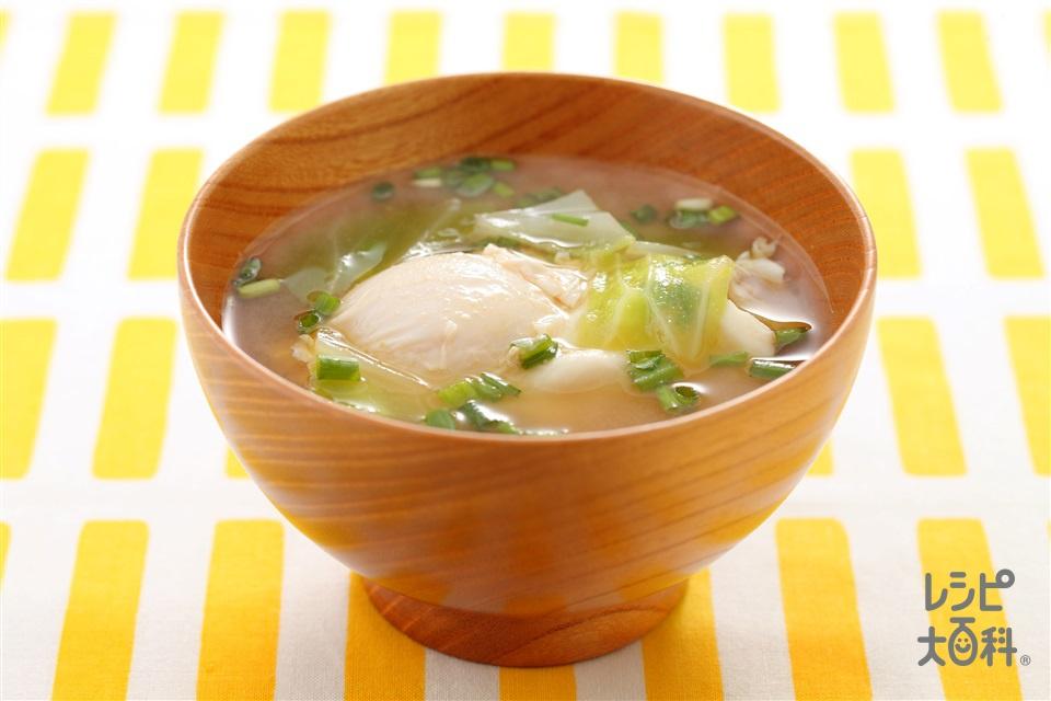 落とし卵のみそ汁(キャベツ+卵を使ったレシピ)
