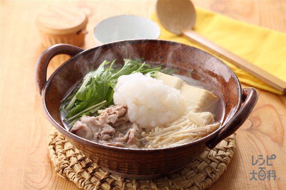 豚肉と水菜のみぞれ鍋(絹ごし豆腐+大根おろしを使ったレシピ)