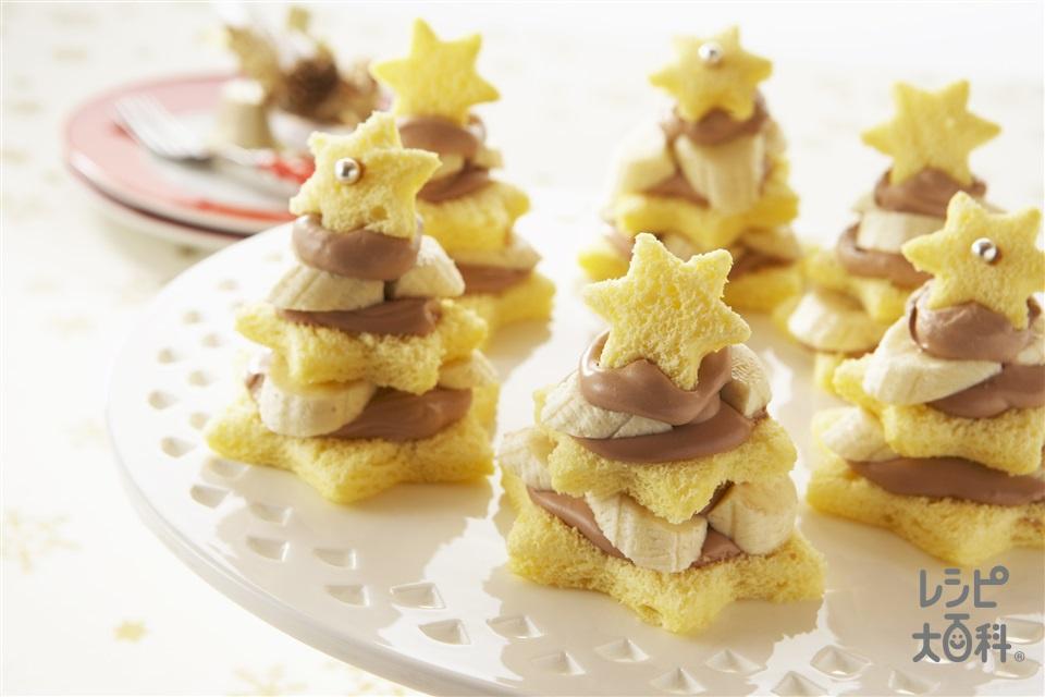 星のツリーケーキ(生クリーム+バナナを使ったレシピ)