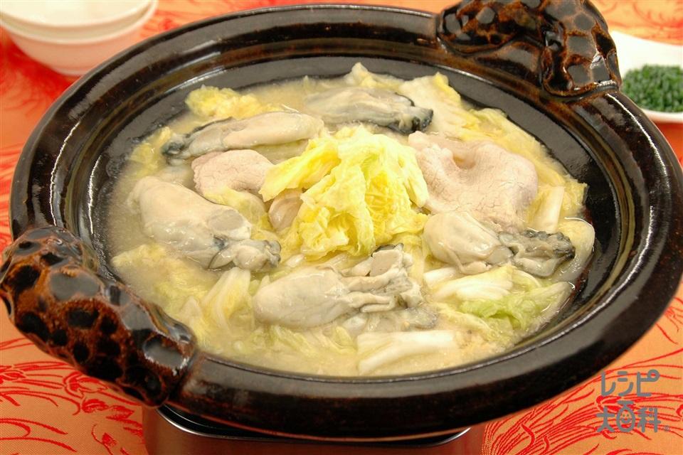 かきと白菜のみそ鍋(かき(むき身)+白菜を使ったレシピ)