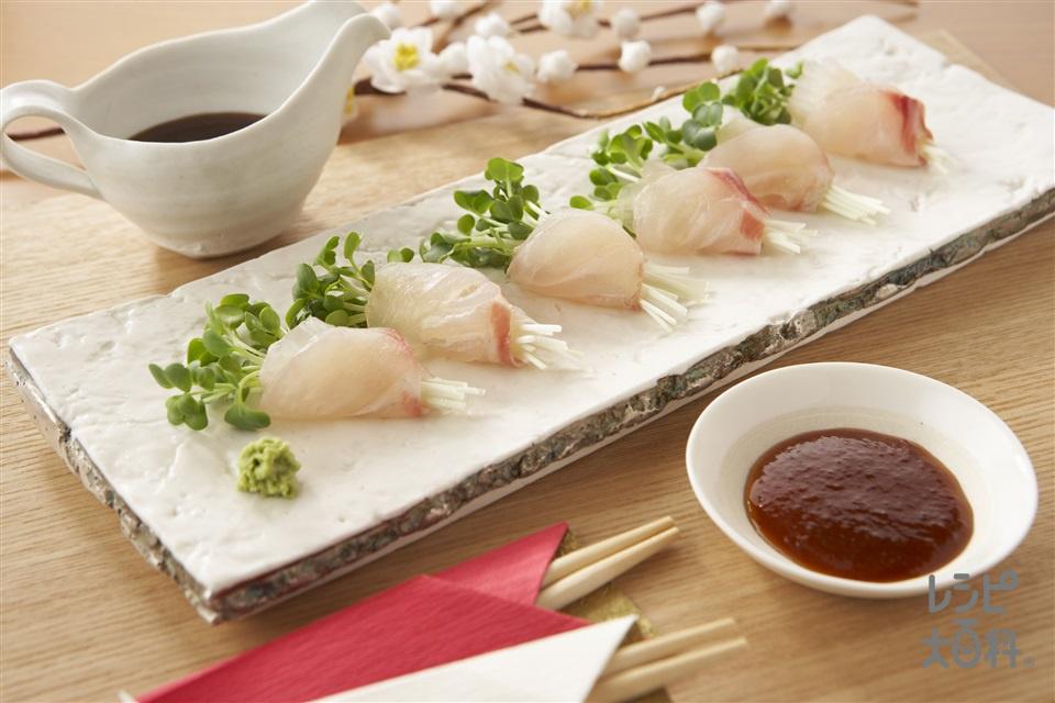 鯛の昆布じめ(たい(刺身)+「瀬戸のほんじお」を使ったレシピ)