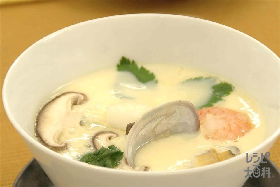 魚介の茶碗蒸し(卵+「ピュアセレクト コクうま 65%カロリーカット」を使ったレシピ)