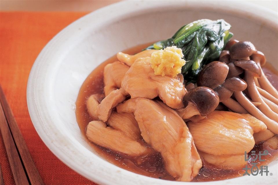 鶏の治部煮(鶏むね肉(皮つき)+ほうれん草を使ったレシピ)