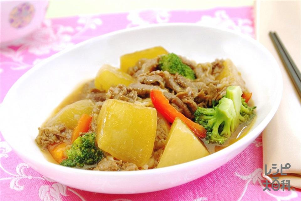 大根と牛肉のピリ辛オイスター煮込み(大根+牛こま切れ肉を使ったレシピ)