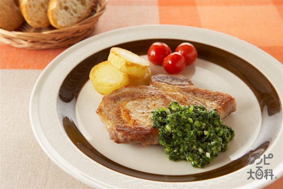 豚肉ロースソテー ねぎソース(豚ロース肉(ソテー用)+じゃがいもを使ったレシピ)