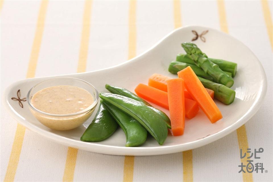 温野菜のごまマヨソース(グリーンアスパラガス+スナップえんどうを使ったレシピ)