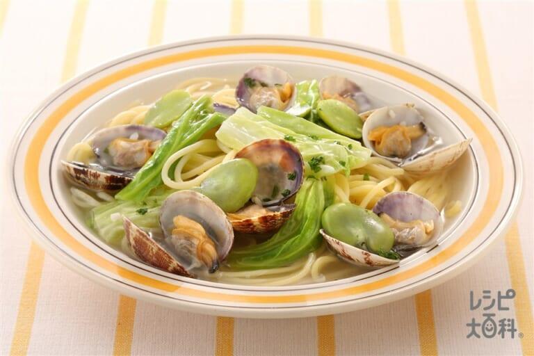 あさりと春野菜のスープスパゲッティ