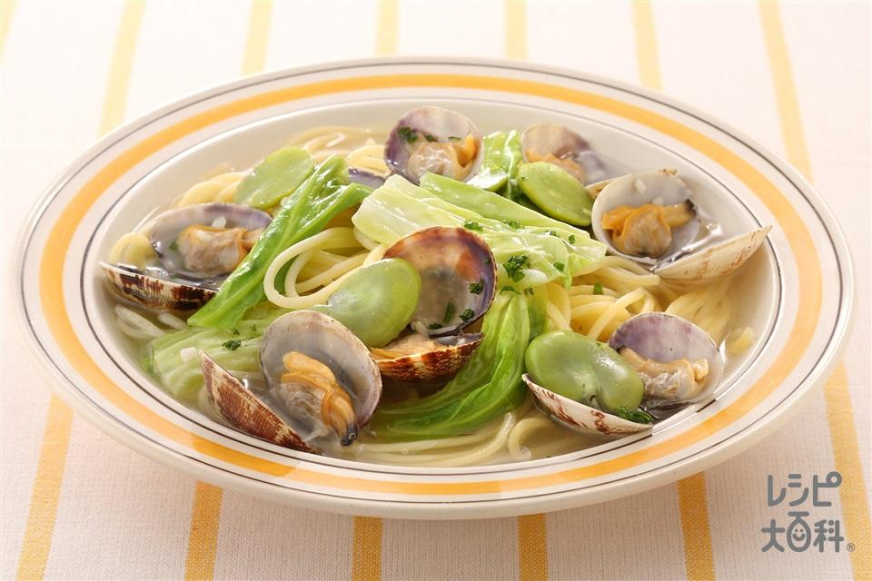 あさりと春野菜のスープスパゲッティ(春キャベツ+スパゲッティを使ったレシピ)