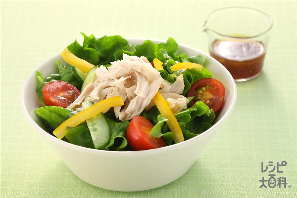 レンジ蒸し鶏と野菜のサラダ(鶏ささ身+「瀬戸のほんじお」を使ったレシピ)