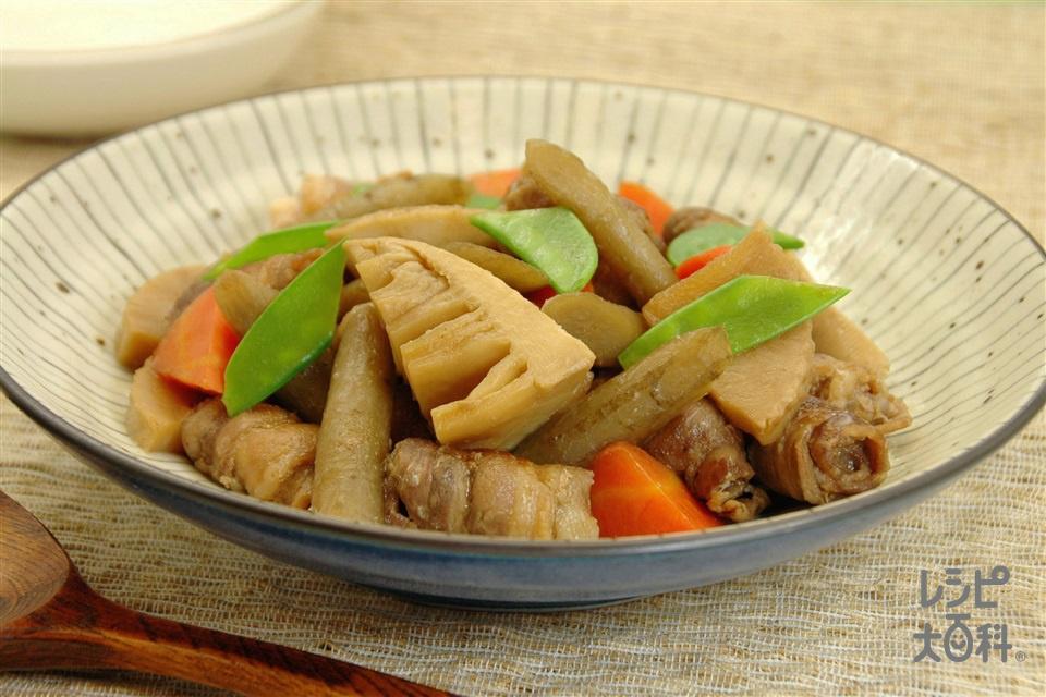 だしうまタケノコ豚(豚バラ薄切り肉+ゆでたけのこを使ったレシピ)