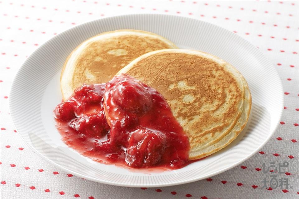 ストロベリーパンケーキ(いちご+牛乳を使ったレシピ)