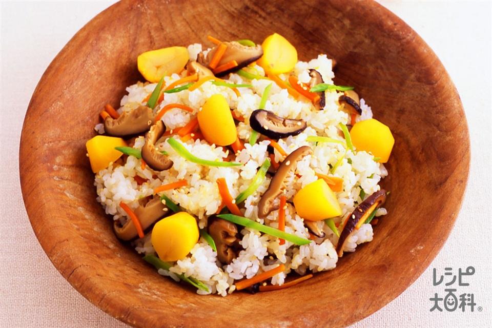 栗のちらしずし(炊きたてご飯+栗の甘露煮を使ったレシピ)