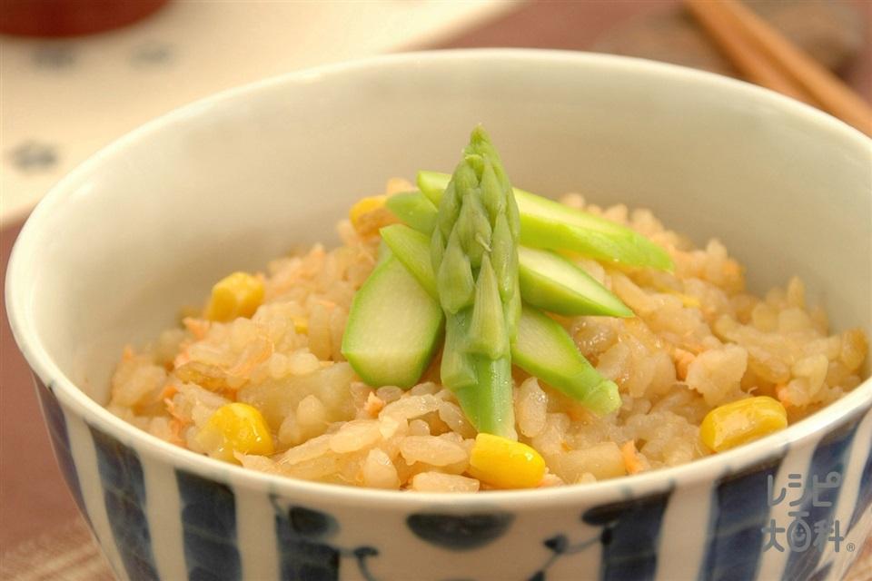 じゃがいもとさけの炊き込みご飯(米+さけを使ったレシピ)
