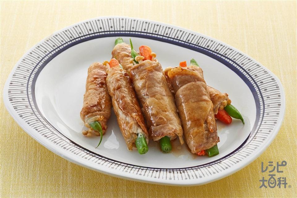 豚の野菜巻き(豚ロース肉(脂身つき)+にんじんを使ったレシピ)