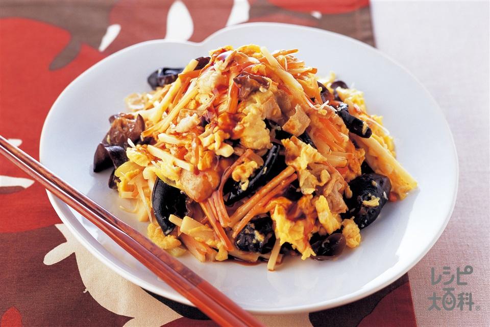 卵と炒め野菜のオイスターがけ(卵+豚バラ薄切り肉を使ったレシピ)