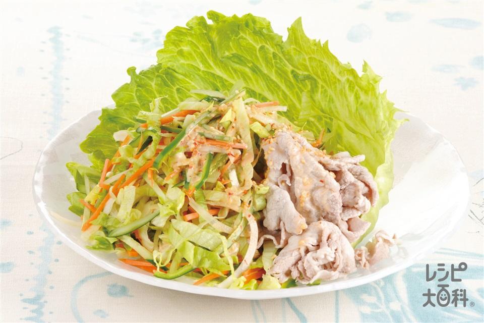 ピリ辛豚しゃぶサラダ(レタス+きゅうりを使ったレシピ)