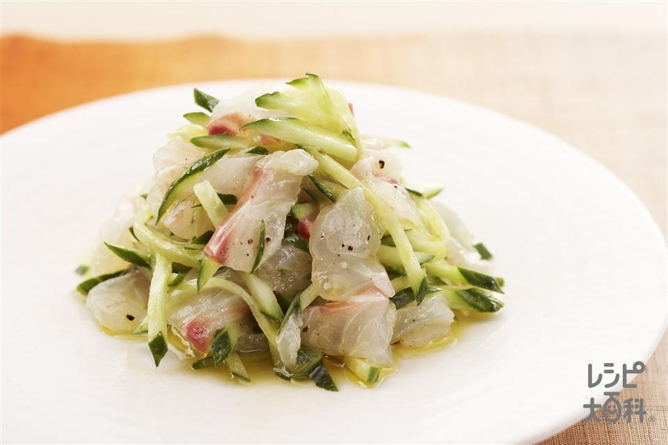 鯛ときゅうりのカルパッチョ(たい(刺身)+きゅうりを使ったレシピ)