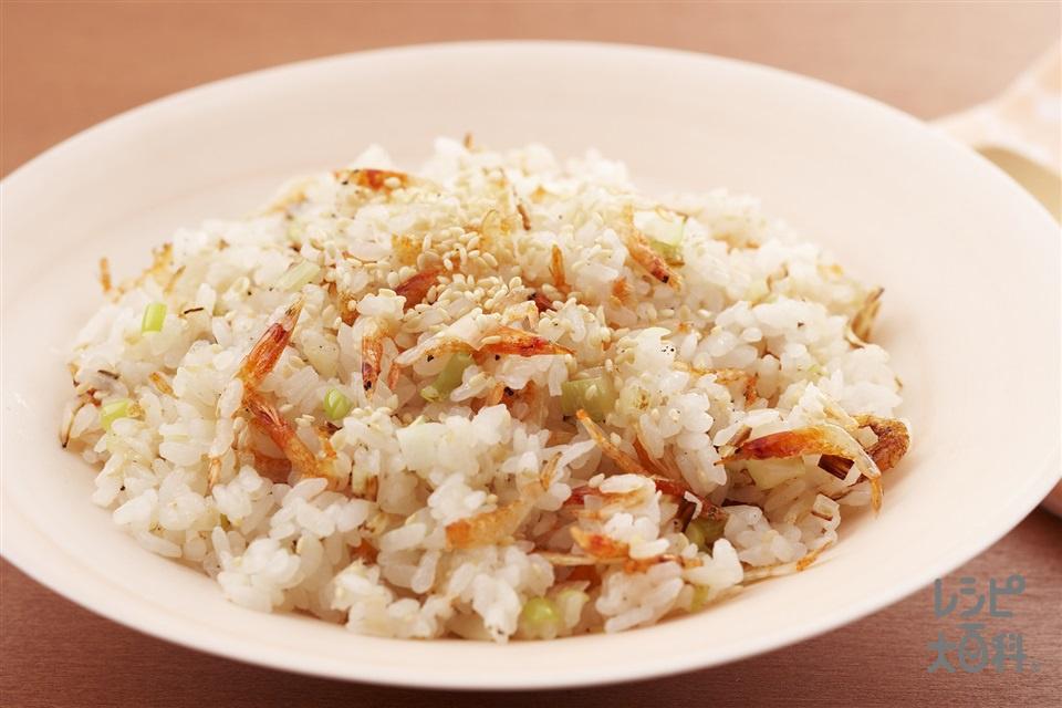 桜えびの和風チャーハン(ご飯+ねぎのみじん切りを使ったレシピ)