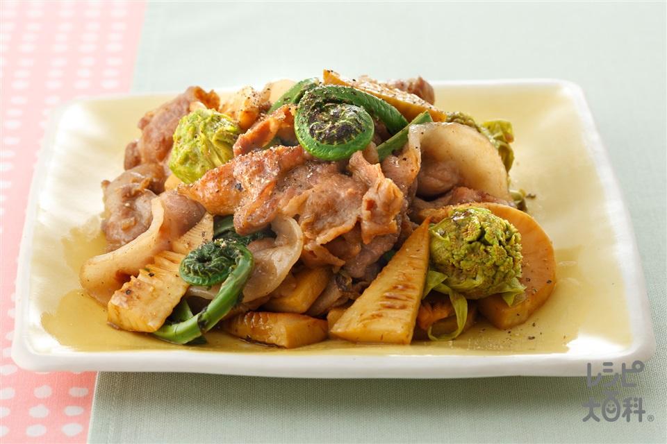 山菜と豚こまのオイスターソース炒め(ゆでたけのこ+豚こま切れ肉を使ったレシピ)