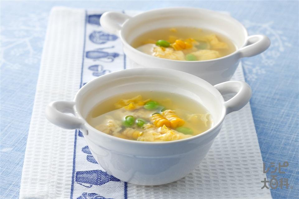枝豆とコーンの卵スープ(卵を使ったレシピ)