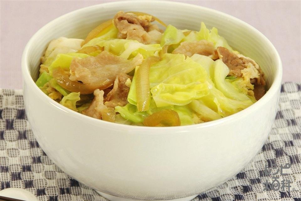 豚キャベ卵とじ丼(豚こま切れ肉+キャベツを使ったレシピ)